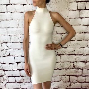 Ronny kobo ribbed white mock neck dress sz XS